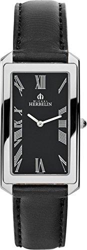 Michel Herbelin 17472-04SN Ladies Escapade Black Leather Strap Watch