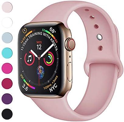 múltiples colores lujo muchas opciones de Lerobo Sport Correa para Apple Watch Correa 38mm 42mm 40mm 44mm, Pulsera de  Repuesto de Silicona Suave Correa para Apple Watch Series 4, Series 3, ...