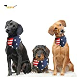 Delifur American Flag Dog Bandana Adjustable USA Flag Accessories Decoration for Small Cats Dogs(L)