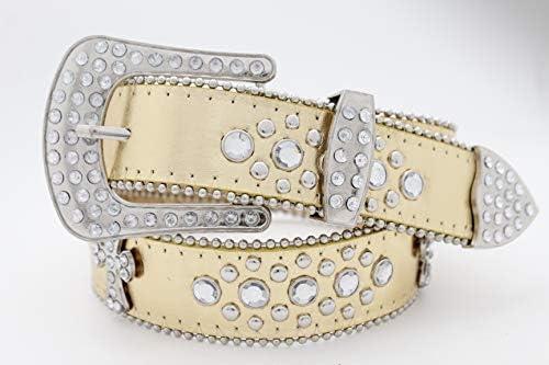 Women White Faux Leather Western Cross Belt Silver Beads Metal Buckle Size M