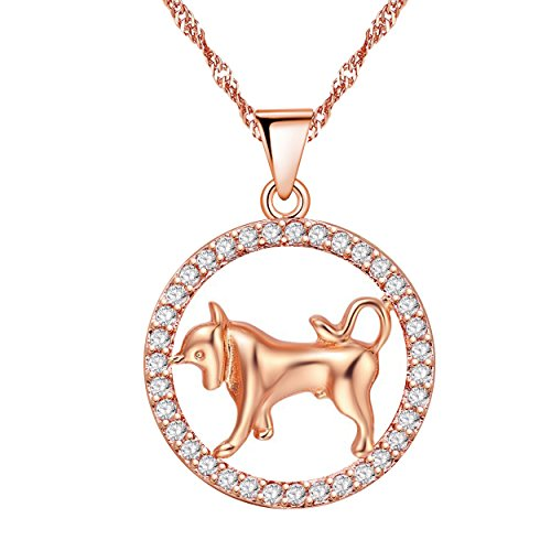 Uloveido 12 Zodiac Taurus Constellation Bull Animal Shape Necklace with Rose Gold Plated Cubic Zirconia Pendant Jewelry Necklace for Birthday Taurus Teacher's Day Gift - Bull Taurus