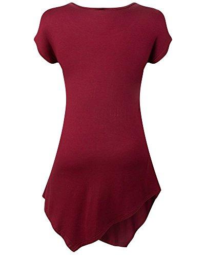 Moollyfox Manga Mujeres Ocasionales De Cuello Redondo Short Camiseta Vino Rojo