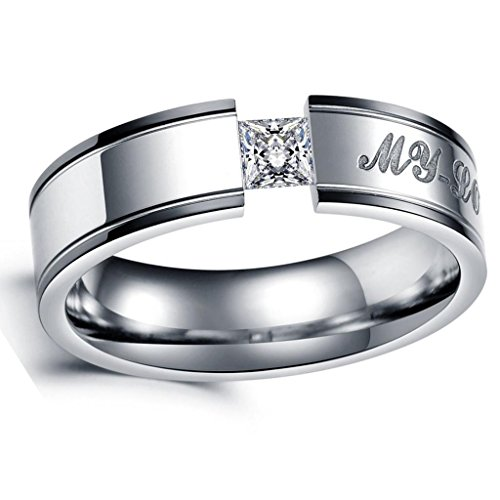 """Men's Wedding Rings Jewelry Stainless Steel Embedded Square CZ Black Edging """"My-Love"""" Size 10"""