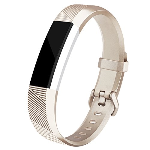 R Bands, Newest Fitbit Alta HR Bands Replacement Wristband Straps with Secure Metal Buckle for Fitbit Alta HR/Fitbit Alta (Light gold, Large) ()