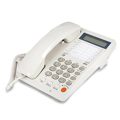 White Caller ID Phone for wall or desk with Speaker and - Bell Wall Phone