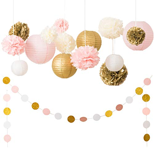 Ling's Moment Pink and Gold Party Decorations, Pom Poms Flowers, Paper Lantern, Circle Paper Garland, for Bridal Shower,Wedding, Birthday, Baby Shower, Dessert Table Decorations, Event & Party Supply for $<!--$19.99-->