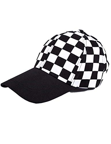 Black And White Checkered Hat (Jollymoda Checkered Cap for Women/Men Checker Flag Print Baseball Checkered Hat)