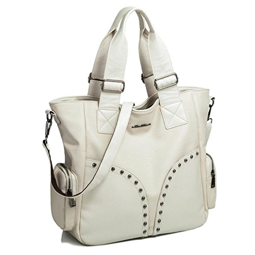 Women Purse Washed Leather Hobo Cross Body Shoulder Bag Rivet Satchel Large Off-white (Hobo Washed Leather)