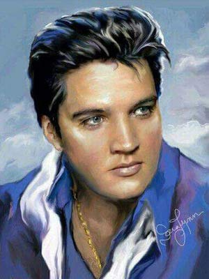 DIY 5D Diamond Painting by Number Kit, Elvis Presley Crystal Rhinestone Crystal Embroidery Cross Stitch Arts Craft Canvas Wall Decor 15.7X11.8IN(Full - Presley Elvis Crystal