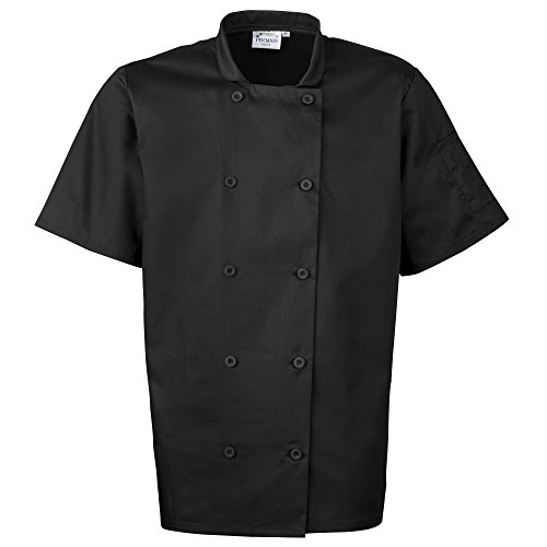 - Premier Unisex Short Sleeved Chefs Jacket/Workwear (Pack of 2) (4XL) (Black)