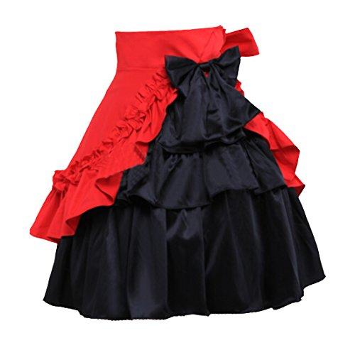 Partiss Women's Pure Cotton Ruffles Gothic Lolita Skirt,M,Black 15 Lolita Skirt
