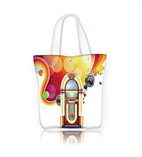 Canvas Tote Bag  in retro style of p y abstract with detailed classic juke box Hanbag Women Shoulder Bag Fashion Tote Ba W12xH7.8xD3 INCH