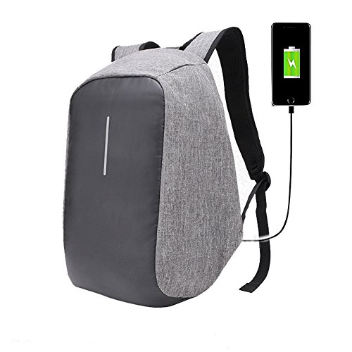 Anti-theft Backpack With USB Charge Port Design, Casual Light weight Waterproof Bag for Travel / School, Concealed Zippers Larger Volume Capacity (Grey)