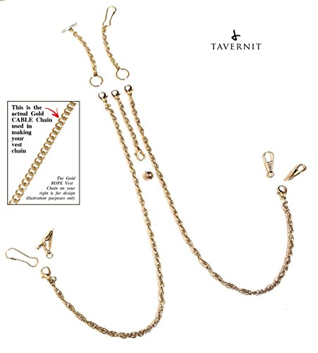 Gold Double Cable - 10-IN-1 Interchangeable VEST CHAIN Fob for Pocket Watches and Money Clip Chains (Gold Cable Chain)