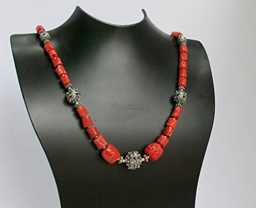 Statement Coral Necklace, Red Coral Necklace, Untreated Precious Mediterranean Coral Croatian Filigree Ball Necklace *Exp Shipping