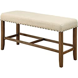 HOMES: Inside + Out IDF-3324PBN Greggory Counter-Height Bench Natural Tone Rustic