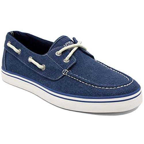 Nautica Men's Galley Lace-Up Boat Shoe,Two-Eyelet Casual Loafer, Fashion Sneaker-Galley-Blue Washed ()