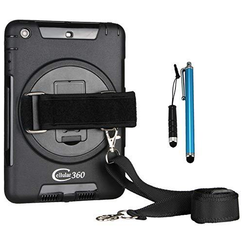 Cellular360 Shockproof Case for Apple iPad Mini 1 iPad Mini 2 iPad Mini 3, Car Headrest Mount Case with 360 Degree Rotatable Kickstand, Adjustable Handle and Shoulder Strap (Black)