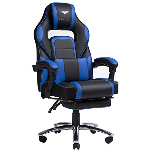 TOPSKY High Back Racing Style PU Leather Computer Gaming Office Chair (Blue) Ergonomic Reclining Design with Lumbar Cushion Footrest and Headrest