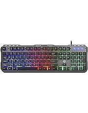 كيبورد العاب معدن بسلك واضاءة خلفية LED بألوان قوس قزح بمفاتيح ميكانيكية مريحة لكمبيوتر سطح المكتب بنظام ويندوز - متعدد الالوان - TP-200