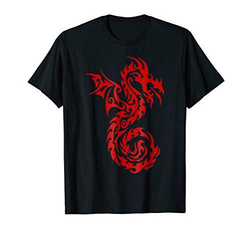 Breathing Fire T-shirt Dragon (Mens Red Tribal Dragon T-Shirt Chinese Firedrake Art Print Medium Black)
