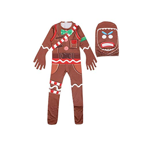 Gingerbread Jumpsuit Costume Halloween Cosplay Costume with Mask (7T, Kids)]()