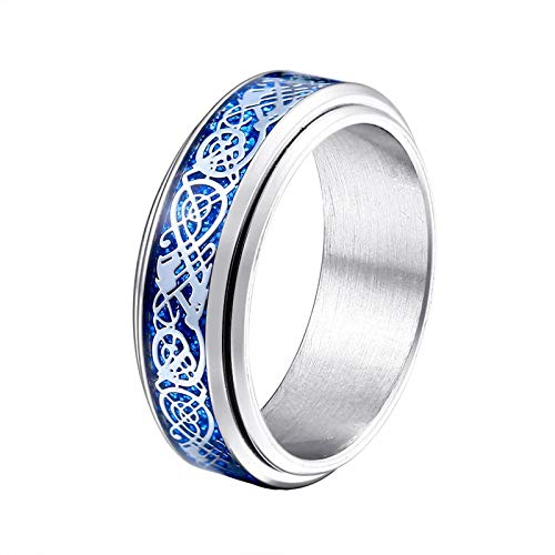 Bishilin Stainless Steel Rings Biker Pattern Rotate Band Ring for Men Promise Silver Azul Size 7.5