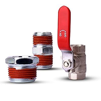 "WYNNsky 3/8"" Ball Valve Air Compressor Shut-Off Kit - 3 Piece Kit Include a Steel Adapter, 3/8"" Pipe Nipple Air Tool Accessory Kit"