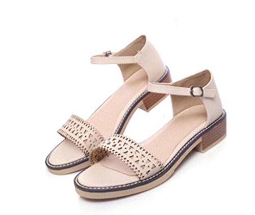 SHFANG Sandalias de las señoras Verano Dulce Permeabilidad Hebilla Cinturón Dew Toe Ocio Confortable Estudiantes 5.5cm Beige