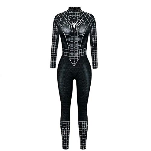 Adult Wowen Black Spider-Man Jumpsuit Halloween Cosplay Costume Sexy Bodysuit -