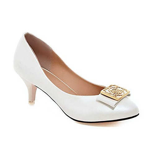 Yingzuzeng Women's Solid Kitten Heels Pull On Round Closed Toe Pumps-Shoes with Metal Piece White8.5 B(M) US - Ave Shopping Nyc 5th