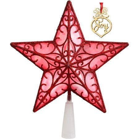 (Red Star Christmas Tree Topper LED 9 Inch with Christmas Word Wooden Ornament with Red Ribbon)