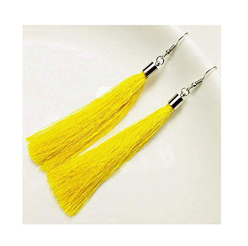 (Attrastores Fine Women Tassel Earrings Jewelry Geometric Silver Color Simple Dangle Drop Earrings,Yellow)