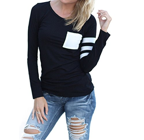 Gillberry Gillberry Womens Cotton Long Sleeve Round Neck Splice Shirt Blouse Tops T Shirt (S, Black) (Neck Thigh Length Lace)