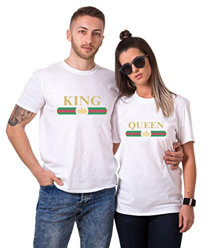 1315e717ac Matching Couple Shirts Set King Queen T-Shirts His Her Valentine's Birthday  Gift Cotton Love