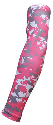 Sports Farm New! Pink Gray White Digital Camo Arm Sleeve - Moisture Wicking Compression (Pink Gray Camouflage)