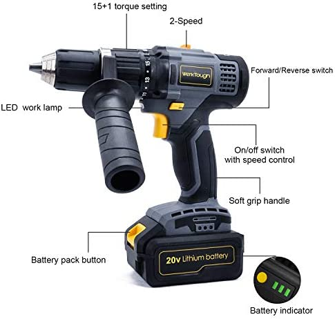 Uniteco Brushless Impact Drill Driver Kit 20V With 2 Viable Speed 3.0A Lithium-Ion High Torque High Speed High Efficiency D013I