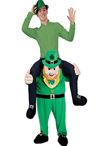 Halloween Carry On Me Piggy Back Ride Novelty Men's Once Upon A Leprechaun Mascot Ride On Costume -
