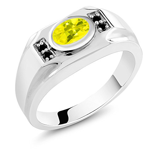 1.73 Ct Oval Canary Mystic Topaz Black Diamond 925 Sterling Silver Men's Ring - Canary Bezel