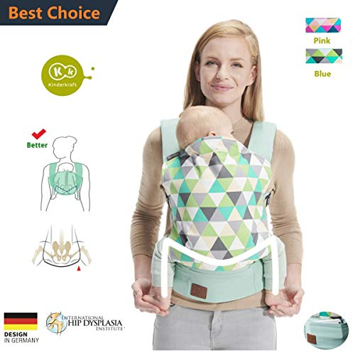 Kinderkraft Baby Carrier Cotton for All Seasons, Comfortable Breathable Adjustable and Ergonomic, Backpack Carrier,Multi-Position Carrying for Newborn(7 to 44lbs) to Toddler Blue