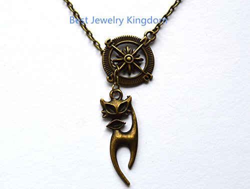Cat Necklace Silver Cat Jewelry Pet Lover Necklace Cat Pendant Necklace,Compass Necklace, Graduation gift, Enjoy the Journey, Travel Jewellery, Travel Gift best gift Pendant, Everyday Jewelry