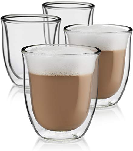 (Cappuccino Cups Set of 4 - Insulated Espresso Glasses (6 oz))
