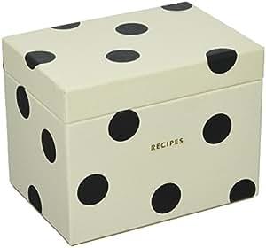 Kate Spade New York Recipe Box, Deco Dot, , Black/Crm