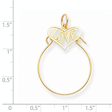 K/&C 10k Yellow Gold Love in Heart Charm Holder on 14K Yellow Gold Carded Rope Chain Necklace