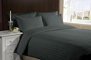 New Luxurious 500 Thread Count 3PC Duvet Set in Stripe Elephant Grey Queen 100% Egyptian Cotton