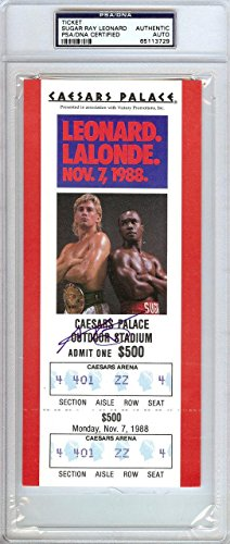 Sugar Ray Leonard Authentic Autographed Signed Ticket #65113729 PSA/DNA Certified Autographed Boxing Tickets