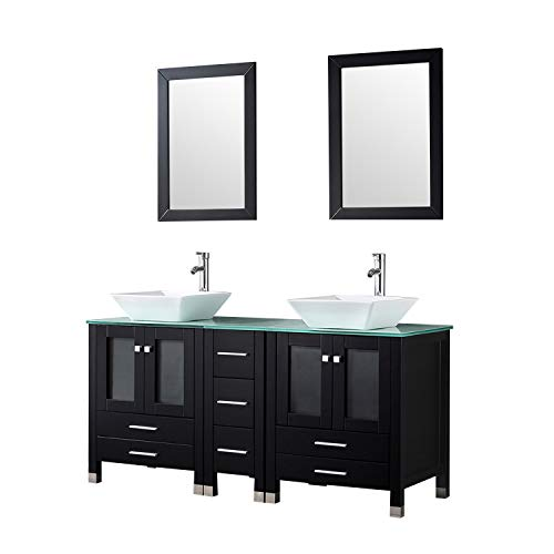 Sliverylake 60 Inches Bathroom Double Ceramic Sink Tempered Glass Countertop Vanity Wooden Cabinet w/Mirror