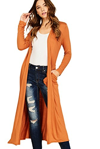 Comfy Pumpkin (Annabelle Women's Comfy Long Sleeve Open Front Side Slit Duster Cardigan With Pockets Pumpkin Large T1163B)
