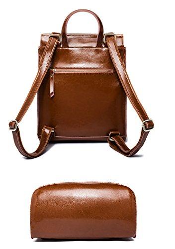 Elegant damen rucksack kunstleder braun rucksäcke mädchen teenager leder mit echtleder Rucksack Abdeckung Rot