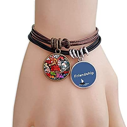 Graffiti Street Colorful Skull Wall Painting Friendship Bracelet Leather Rope Wristband Couple Set Estimated Price -